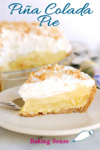 a pinterest image for pina colada pie with text overlay