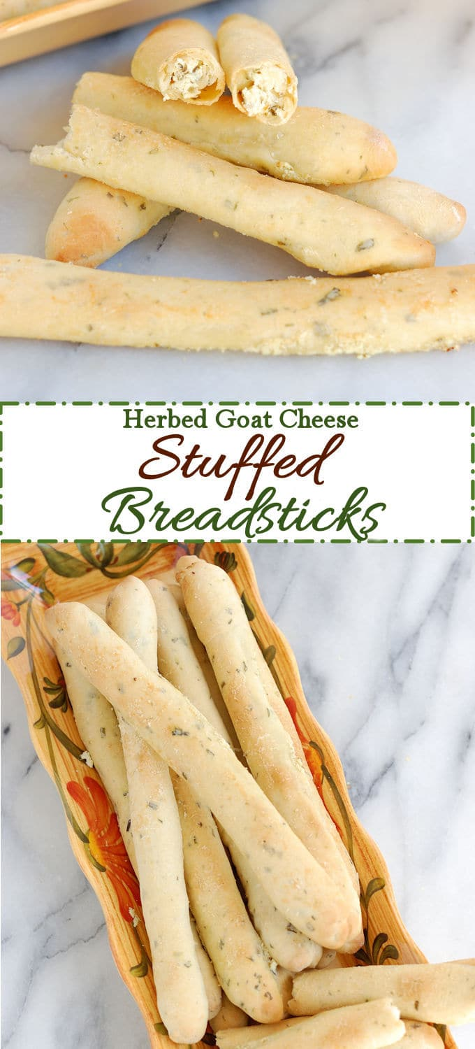 Garlic & herb bread dough stuffed with garlic & herb goat cheese. Great recipe for your next dinner party.