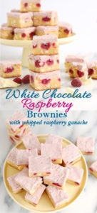 a pinterest image showing various shots of white chocolate raspberry brownies with text overlay