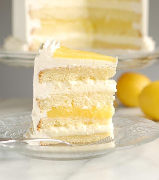 a slice of luscious lemon mousse cake