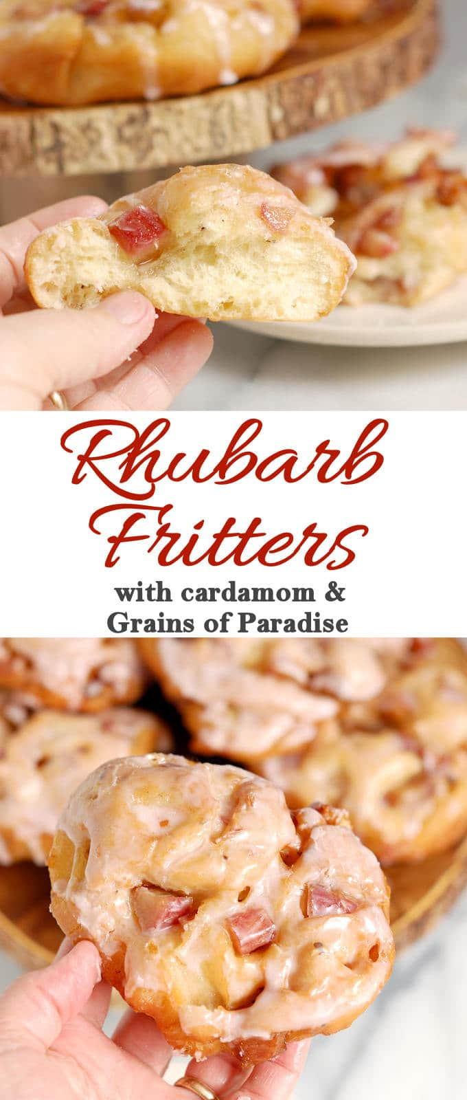 Rhubarb Fritters are yeasty, donut-style treats. Spiced with cardamom & grains of paradise, deep fried and iced with rhubarb juice glaze.