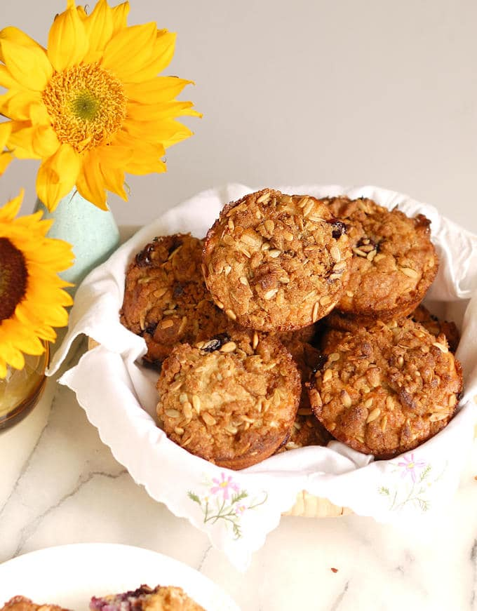 sunflower crumb muffins