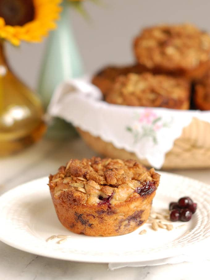 sunflower crumb muffins with blueberries