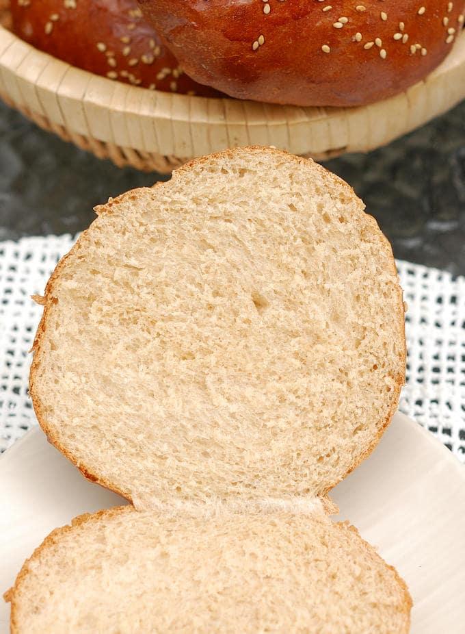 the interior of a Milk & Honey whole wheat burger bun