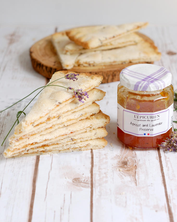 apricot lavender shortbread and a jar of preserves