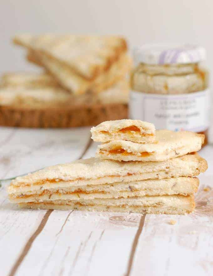 slices of apricot lavender shortbread