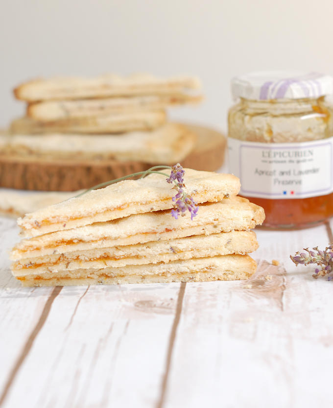 a stack of apricot lavender filled shortbread
