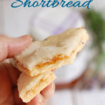 an image of apricot lavender shortbread cookies for pinterest