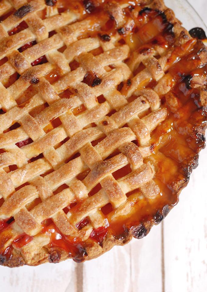 lattice top apricot raspberry pie
