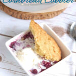 a pinterest image for blueberry cornbread cobbler