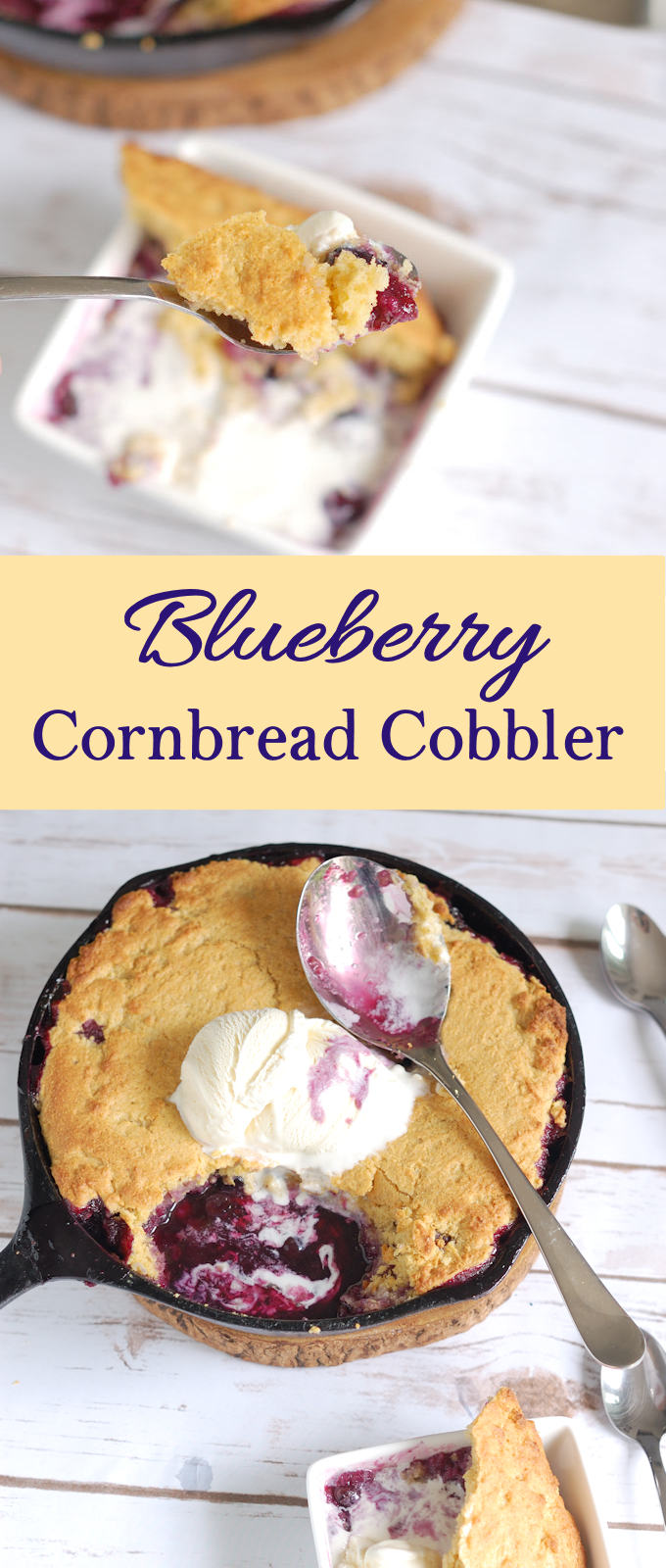Fresh blueberries baked under a sweet cornbread crust is super easy to make. The perfect dessert for casual summer dining.