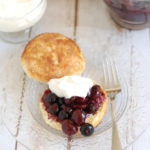 a blueberry & cherry shortcake on a plate