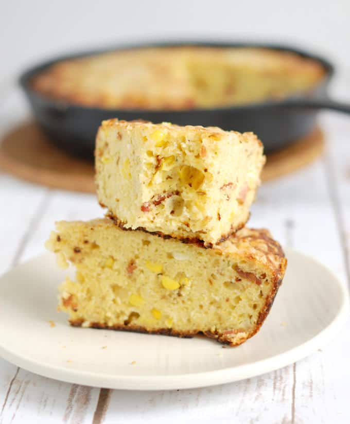 smoked cornbread with chipotle bacon