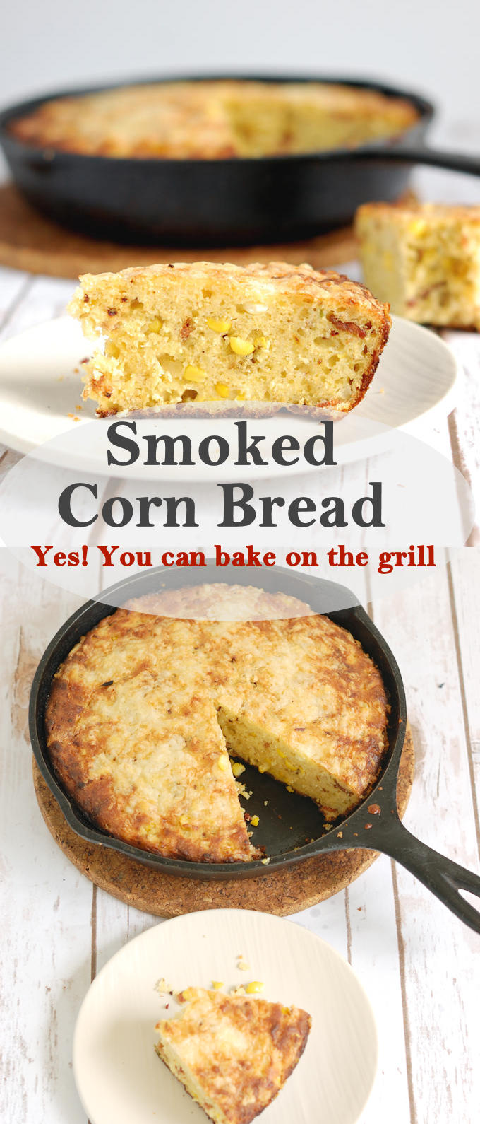 Mmmm, smoky corn bread baked right on the grill! Why turn on the oven and heat up the kitchen when you can bake on the grill? #Cookoutweek #