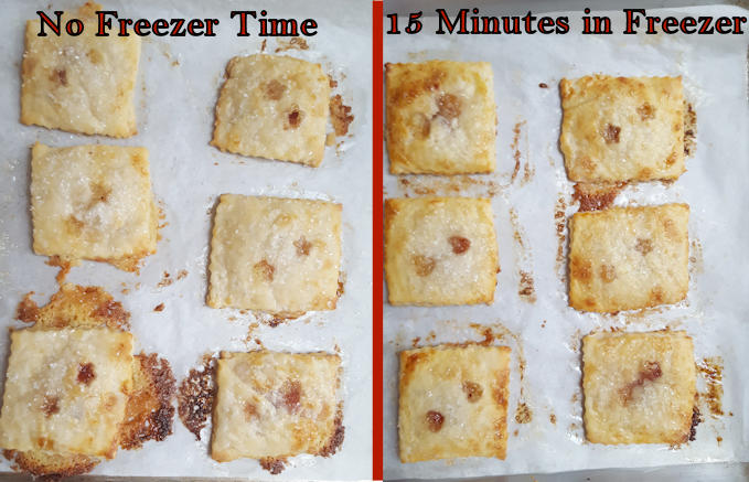 two tray showing Cherry Almond Hand Pies with freezer time and without