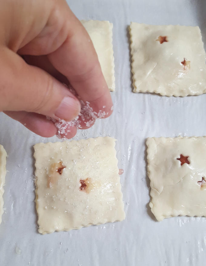 sprinkling hand pies with sugar