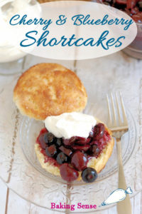a pinterest image for blueberry and cherry shortcake with text overlay