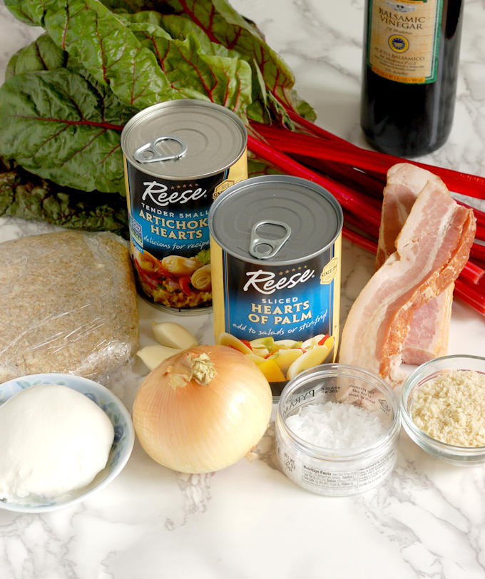 ingredients for hearts of palm galette