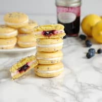 Lemon Blueberry Macarons