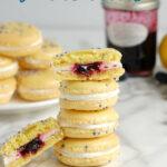 a pinterest image for blueberry lemon macarons