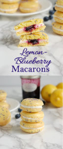 a pinterest image for lemon blueberry macarons