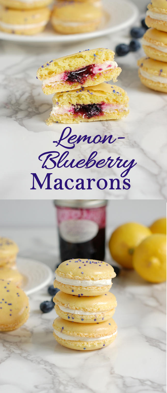 French Macarons flavored with lemon and filled with lemon buttercream and blueberry lemon preserves. Watch a step by step video how to make macarons. #how-to #video #best #authentic