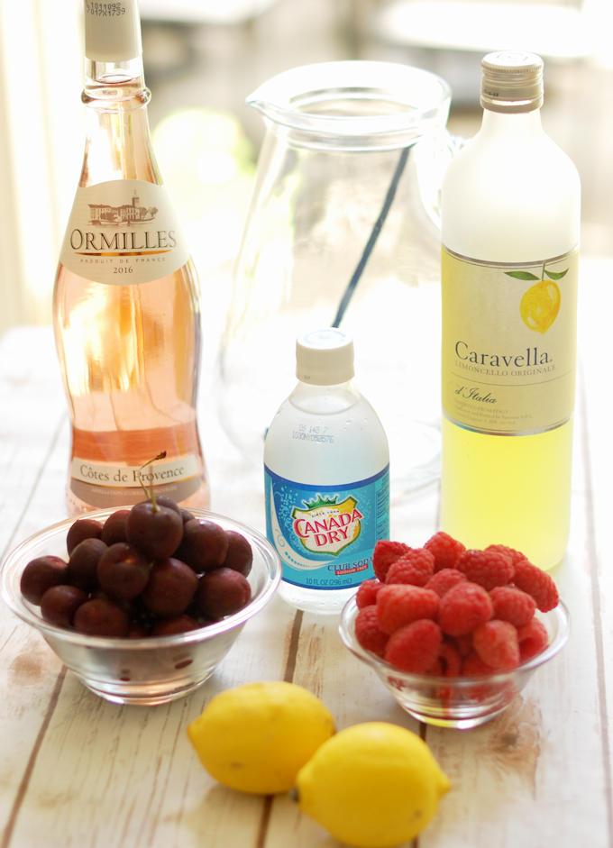 ingredients for rose wine sangria