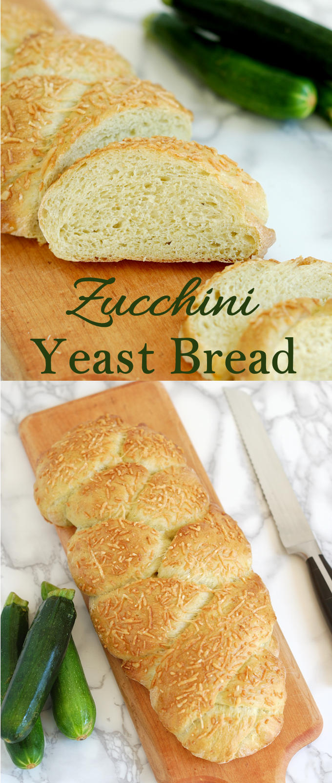 Yeast bread made with zucchini for a super soft crumb and moist texture. Great way to use up that zucchini.