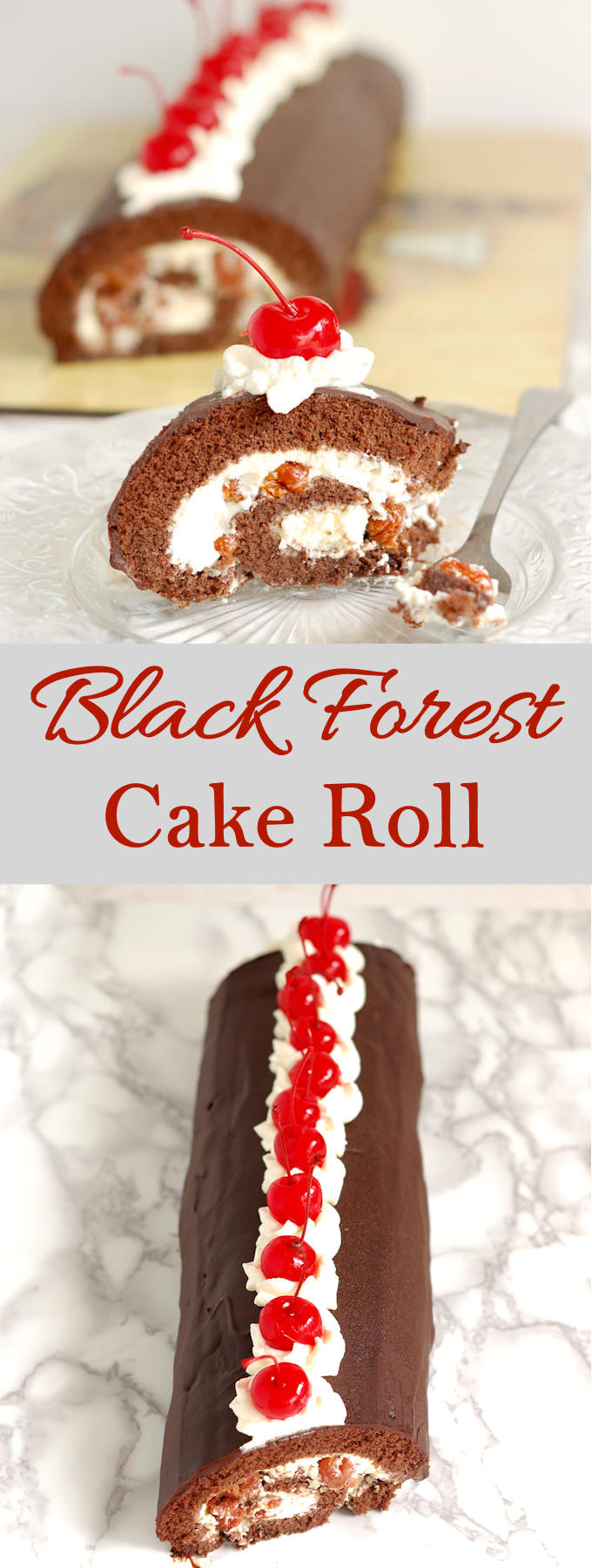 Black Forest Cake roll with chocolate sponge cake with detailed instructions and a video.