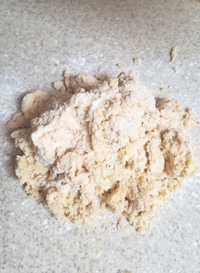 scone dough ready to be rolled