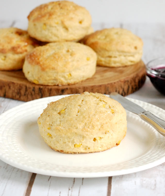 a sweet corn scone on a plate