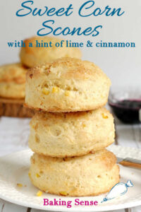 a pinterest image for sweet corn scones