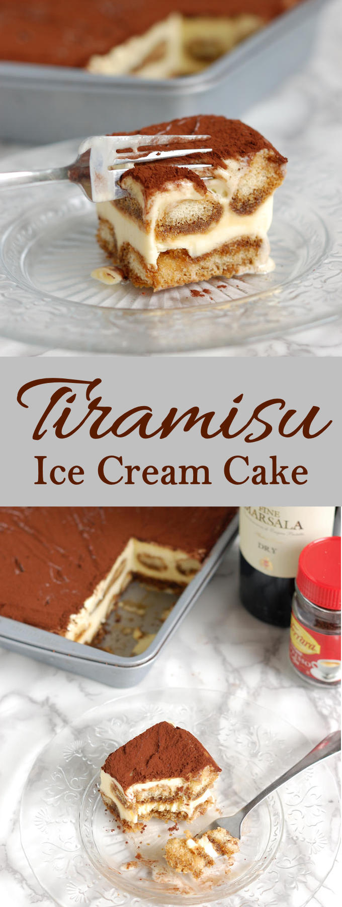 The classic Italian Dessert turned into a luscious Tiramisu Ice Cream Cake. No baking needed!
