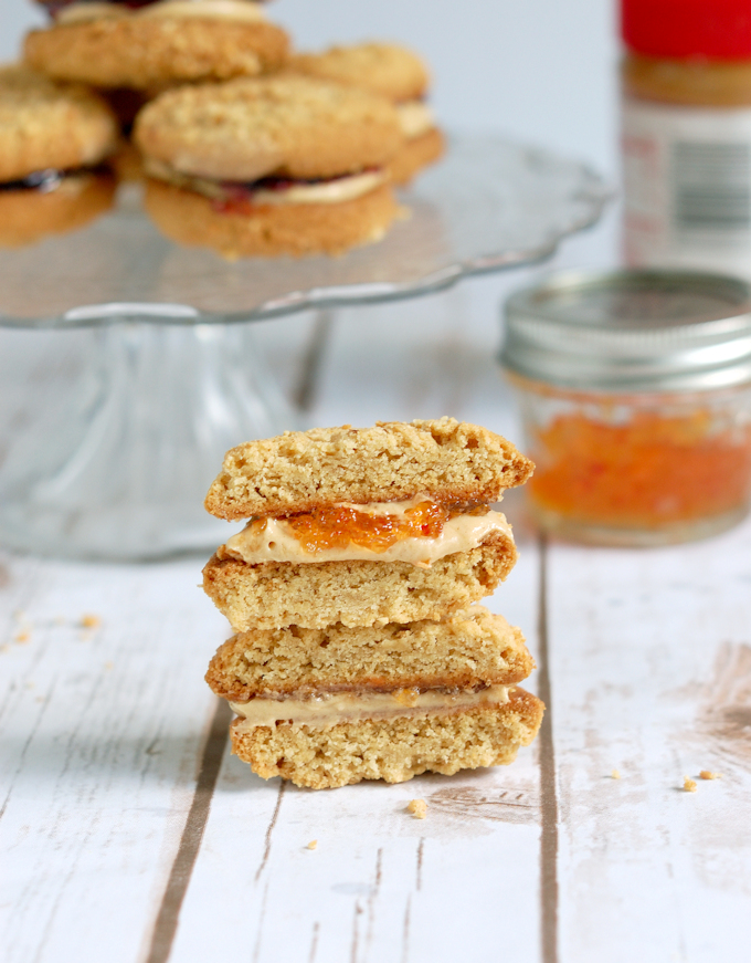 Peanut butter & jelly sandwich cookie with hot pepper jelly