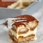 a pinterest image of tiramisu ice cream cake with text overlay