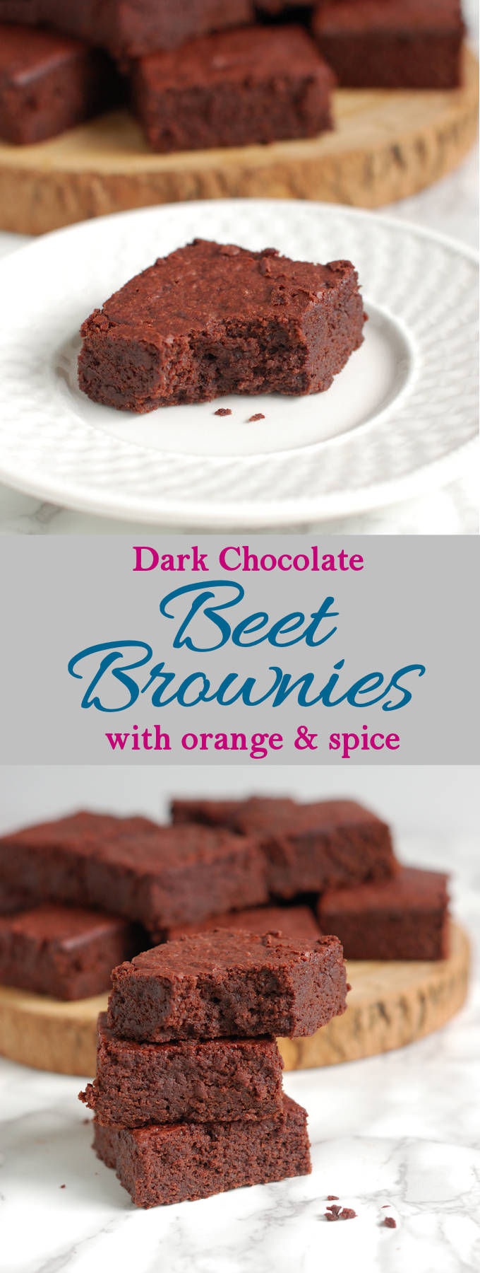 Roasted red beets make these brownies super moist with a special flavor. A little orange and spice are the perfect compliments to the beet flavor.