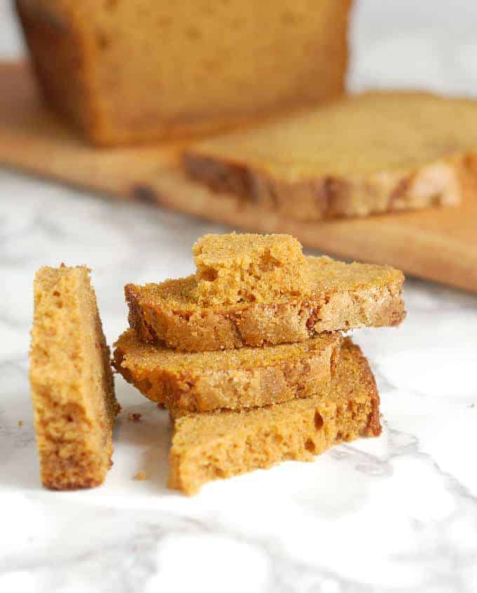 sliced of honey pumpkin bread stacked