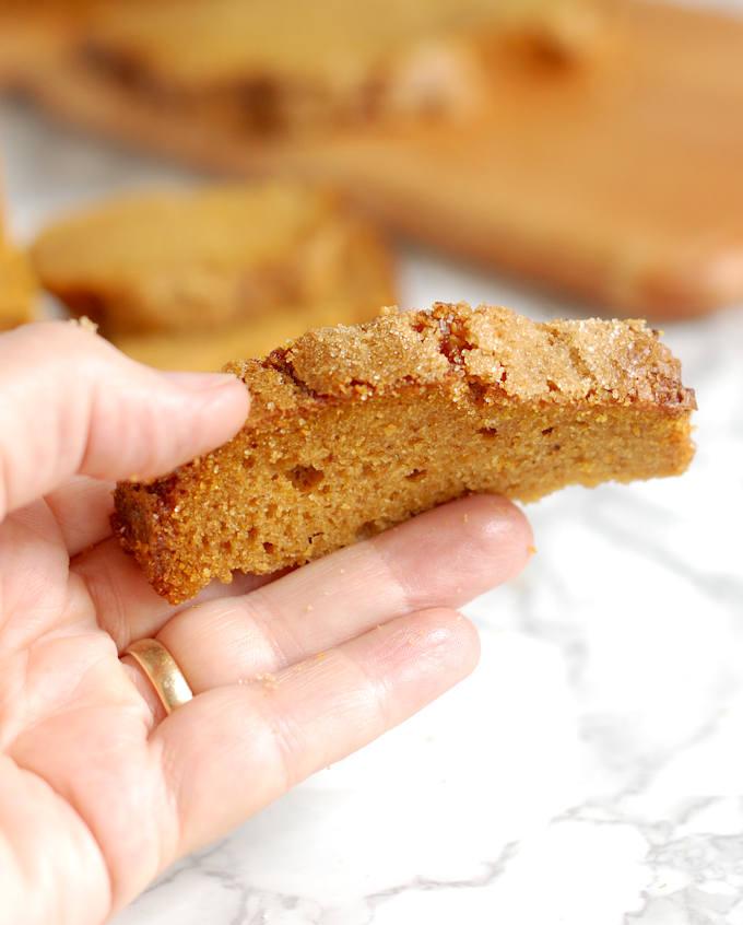 a closeup shot of a hand holding a slice of pumpkin bread