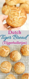 a pinterest image for dutch tiger bread with text overlay