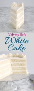 An image of a slice of white cake and below it a 1/2 cake on a glass cake stand. Text overlay in pink and blue says Velvety Soft White Cake