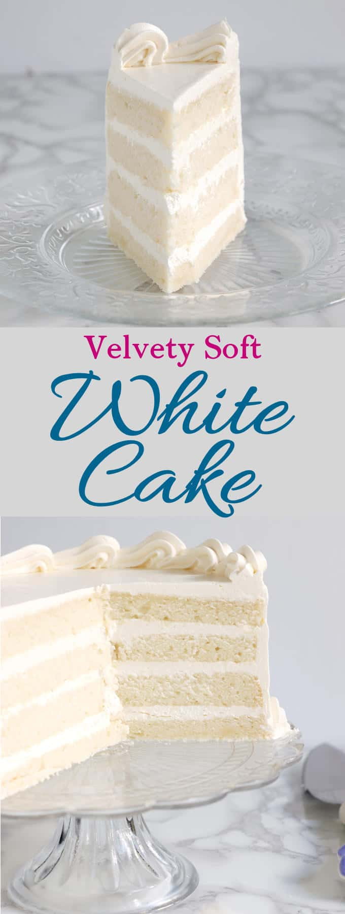 Velvety, soft white cake made from scratch is easy to do. How you mix the cake makes a big difference. Find out why the reverse creaming technique is the way to get a white cake with a tender and moist crumb. #easy #moist #best #sourcream #soft