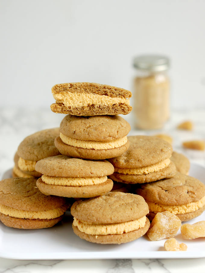 Ginger Sandwich Cookies with pumpkin ganache