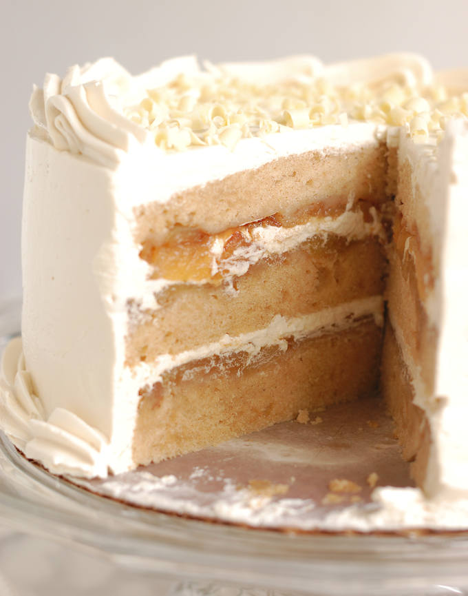 apple upside down layer cake with maple buttercream
