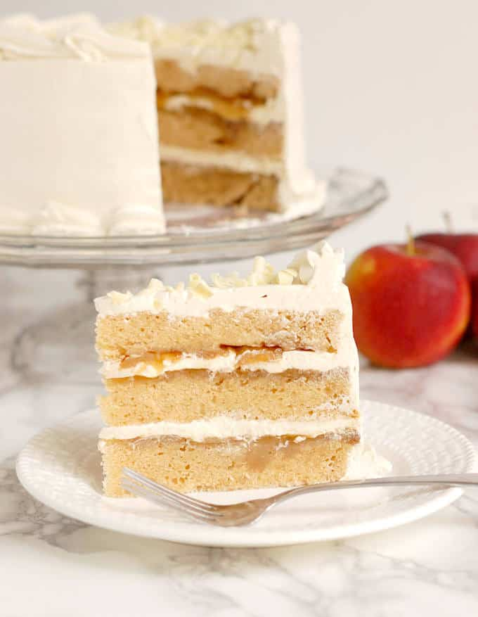 apple upside down cake with maple buttercream