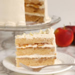 apple upside down layer cake with maple butterceam