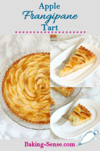 a pinterest image showing an apple frangipane tart with text overlay