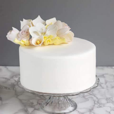 a cake covered with rolled fondant
