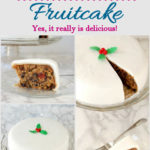 a pinterest image for brandy aged fruitcake with text overlay