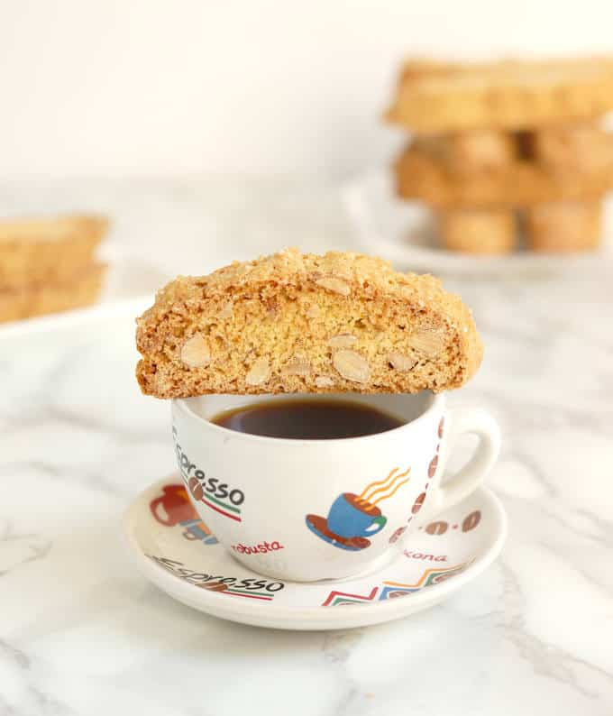 a Anise & Orange Biscotti on a cup of espresso