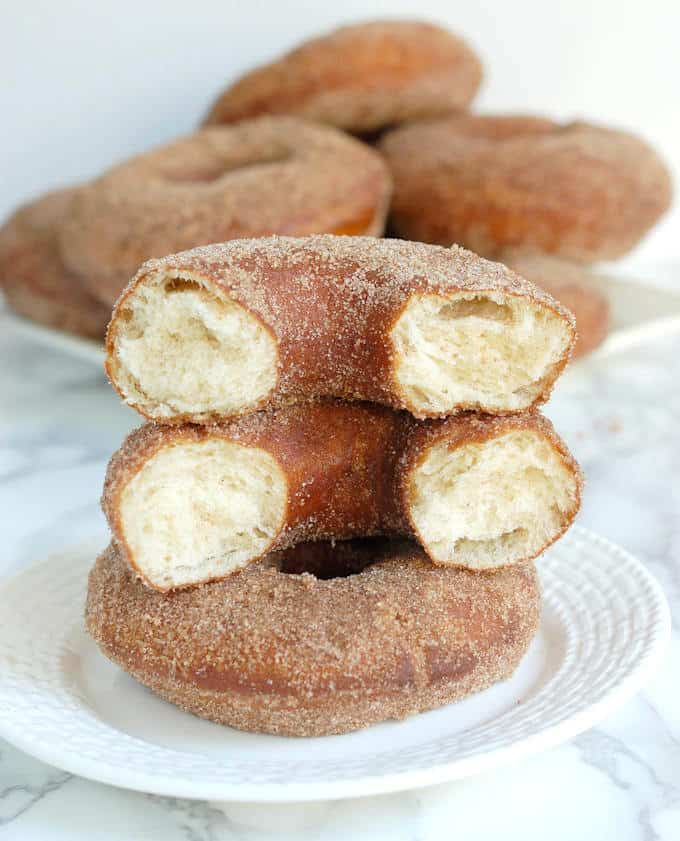 sourdough donuts with cinnamon sugar